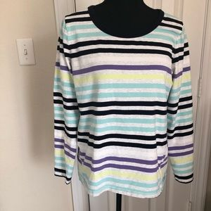 Talbots long sleeve striped workout shirt